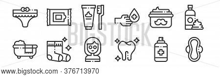 12 Set Of Linear Hygiene Routine Icons. Thin Outline Icons Such As Sanitary Pad, Tooth, Socks, Moust