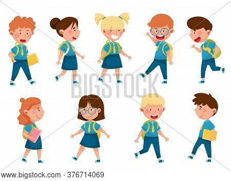 Boy And Girl Characters Wearing School Uniform And Backpack Walking And Running To School Vector Ill