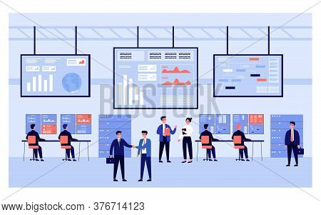 Software Engineers Working With Big Computer Screens Isolated Flat Vector Illustration. Cartoon Tech