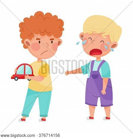Hostile Kid With Angry Grimace Taking Away Toy Car From His Crying Agemate Vector Illustration