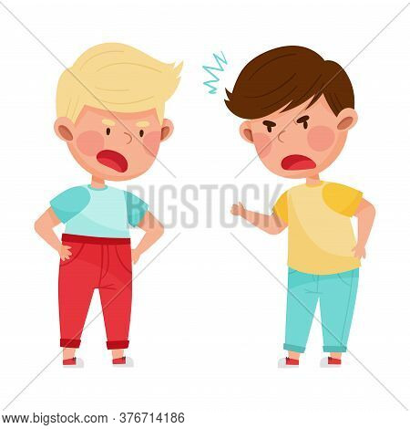Hostile Kids With Angry Grimace Shouting And Arguing With Each Other Vector Illustration