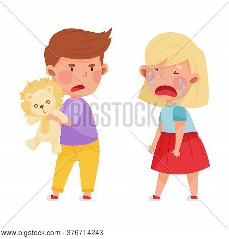 Hostile Kid With Angry Grimace Taking Away Toy Lion From His Crying Agemate Vector Illustration
