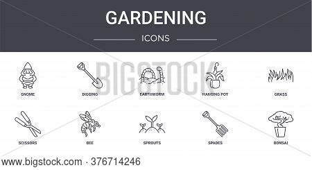 Gardening Concept Line Icons Set. Contains Icons Usable For Web, Logo, Ui Ux Such As Digging, Hangin