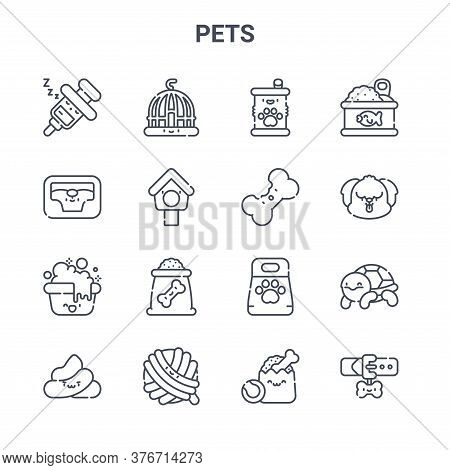 Set Of 16 Pets Concept Vector Line Icons. 64x64 Thin Stroke Icons Such As Cage, Pet Bed, Dog, Pet Fo