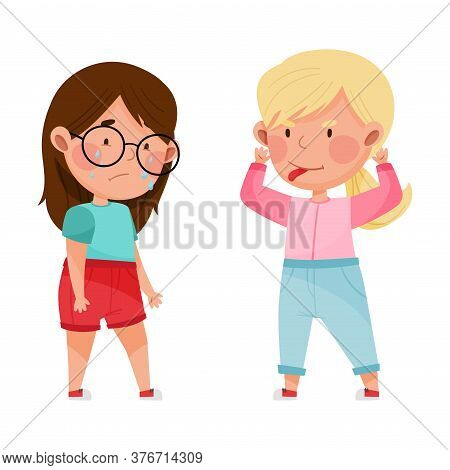 Unfriendly Girl Showing Tongue And Teasing Her Crying Agemate Vector Illustration