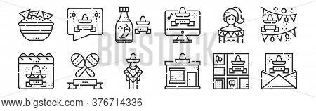 12 Set Of Linear Cinco De Mayo Icons. Thin Outline Icons Such As Cinco De Mayo, Shop, Maracas, Mexic