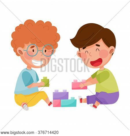 Friendly Kids Playing Together With Toy Blocks And Laughing Vector Illustration