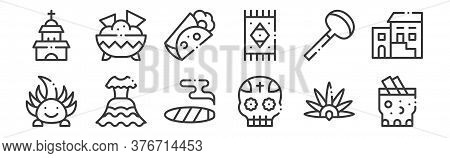 12 Set Of Linear Mexico Icons. Thin Outline Icons Such As Tepache, Mexican, Dress, Coa De Jima, Burr