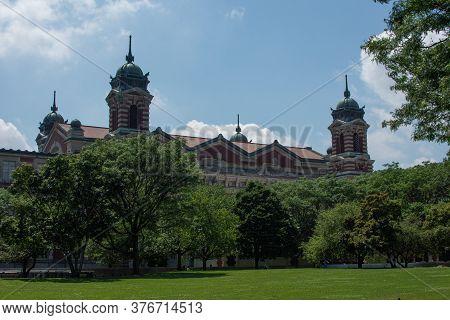 New York, Ny, Usa - July 19, 2019: Exterior Of Ellis Island Immigration Museum