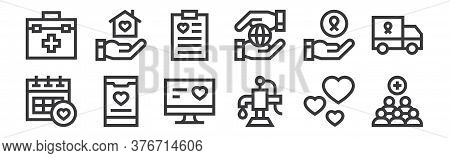 12 Set Of Linear Charity Icons. Thin Outline Icons Such As Add, Water Pump, App, Charity, Clipboard,