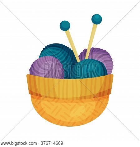 Wool Ball With Knitting Needle Or Knitting Pin In Basket As Needlework Tools Vector Illustration