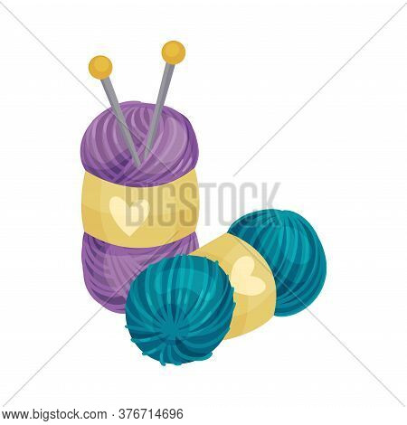 Knitting Needle Or Knitting Pin With Wool As Needlework Vector Illustration