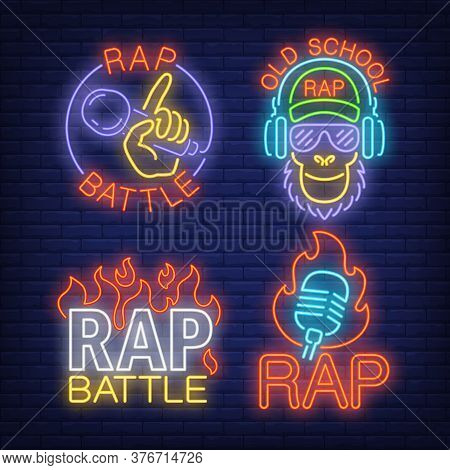 Rap Neon Signs Set With Flames And Microphones. Rap Battle Advertisement Design. Night Bright Neon S