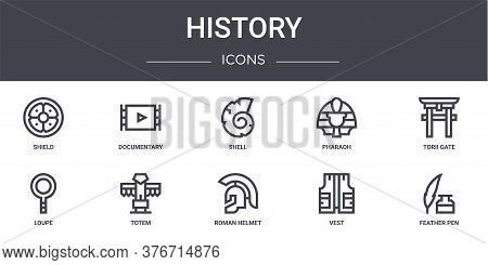 History Concept Line Icons Set. Contains Icons Usable For Web, Logo, Ui Ux Such As Documentary, Phar