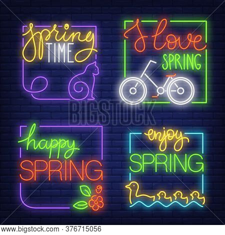 Spring Neon Signs Set With Cat, Bicycle, Flower And Ducks. Spring Time Design Elements. Night Bright