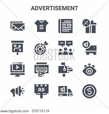 Set Of 16 Advertisement Concept Vector Line Icons. 64x64 Thin Stroke Icons Such As T Shirt, Strategy