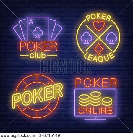 Poker Neon Signs Set With Playing Cards And Chip. Poker Club Advertisement Design. Night Bright Neon