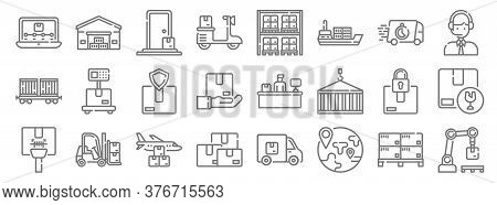 Logistic And Delivery Line Icons. Linear Set. Quality Vector Line Set Such As Robotic Arm, Worldwide