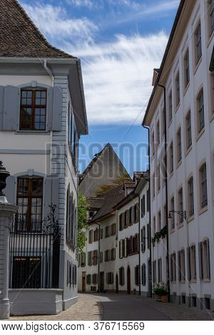 Basel, Bl / Switzerland - 8 July 2020:  View Of The Historic Old City Center In Downtown Basel