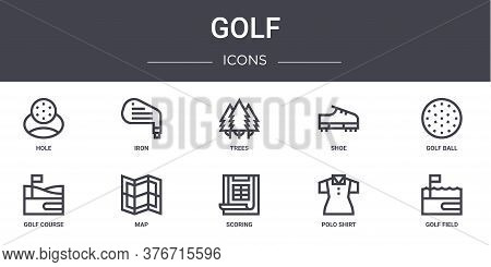 Golf Concept Line Icons Set. Contains Icons Usable For Web, Logo, Ui Ux Such As Iron, Shoe, Golf Cou