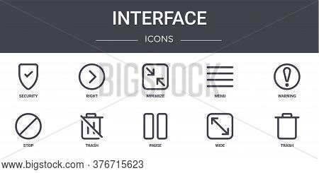 Interface Concept Line Icons Set. Contains Icons Usable For Web, Logo, Ui Ux Such As Right, Menu, St