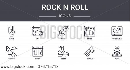 Rock N Roll Concept Line Icons Set. Contains Icons Usable For Web, Logo, Ui Ux Such As Van, Stage, T