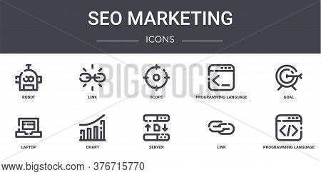 Seo Marketing Concept Line Icons Set. Contains Icons Usable For Web, Logo, Ui Ux Such As Link, Progr