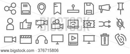 Multimedia Line Icons. Linear Set. Quality Vector Line Set Such As Telephone, Banner, Desktop Comput
