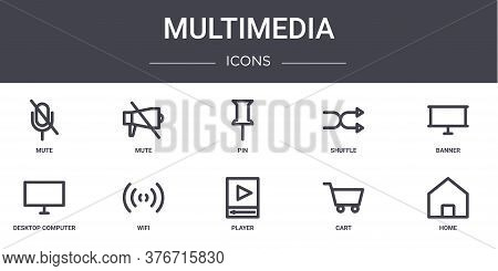 Multimedia Concept Line Icons Set. Contains Icons Usable For Web, Logo, Ui Ux Such As Mute, Shuffle,