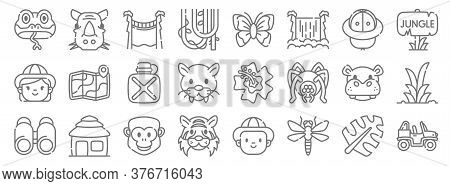 Jungle Line Icons. Linear Set. Quality Vector Line Set Such As Buggy, Dragonfly, Tiger, Binoculars,