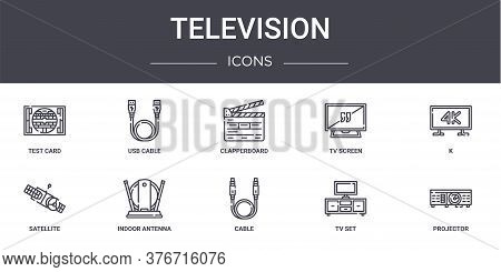 Television Concept Line Icons Set. Contains Icons Usable For Web, Logo, Ui Ux Such As Usb Cable, Tv
