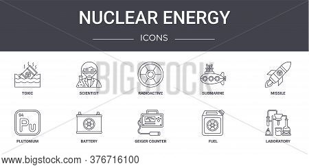 Nuclear Energy Concept Line Icons Set. Contains Icons Usable For Web, Logo, Ui Ux Such As Scientist,