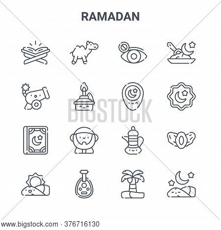 Set Of 16 Ramadan Concept Vector Line Icons. 64x64 Thin Stroke Icons Such As Camel, Cannon, Rub El H