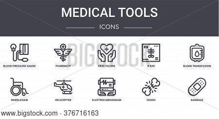 Medical Tools Concept Line Icons Set. Contains Icons Usable For Web, Logo, Ui Ux Such As Pharmacy, X