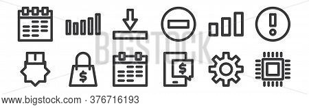 12 Set Of Linear Marketing Business Icons. Thin Outline Icons Such As Microchips, Ecommerce, Bag, ,