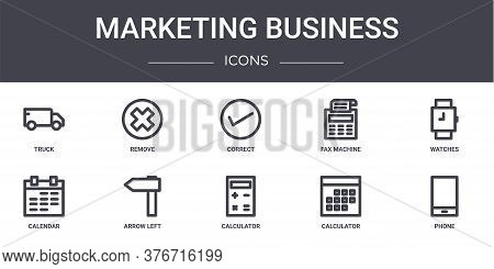 Marketing Business Concept Line Icons Set. Contains Icons Usable For Web, Logo, Ui Ux Such As Remove