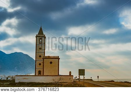 Church Of San Miguel On Coastal Road In In Almadraba De Monteleva, Cabo De Gata Nijar Natural Park,