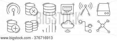 12 Set Of Linear Network And Database Icons. Thin Outline Icons Such As Network, Cloud Storage, Data