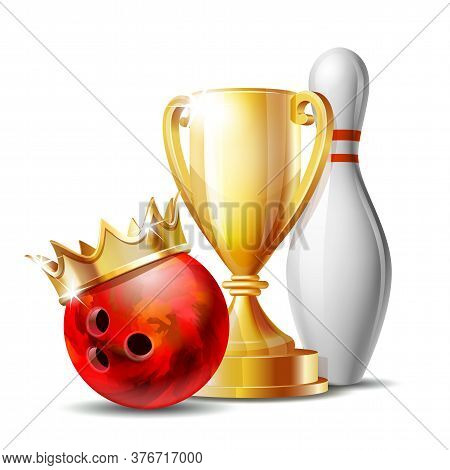 Bowling Game Award. Bowling Ball With Golden Crown And Golden Cup