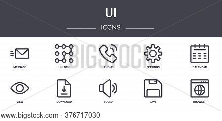 Ui Concept Line Icons Set. Contains Icons Usable For Web, Logo, Ui Ux Such As Unlock, Settings, View