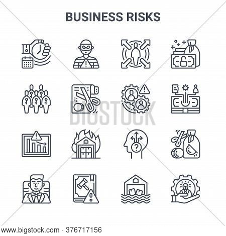 Set Of 16 Business Risks Concept Vector Line Icons. 64x64 Thin Stroke Icons Such As Theft, Humans, E