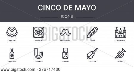 Cinco De Mayo Concept Line Icons Set. Contains Icons Usable For Web, Logo, Ui Ux Such As Flower, Cig