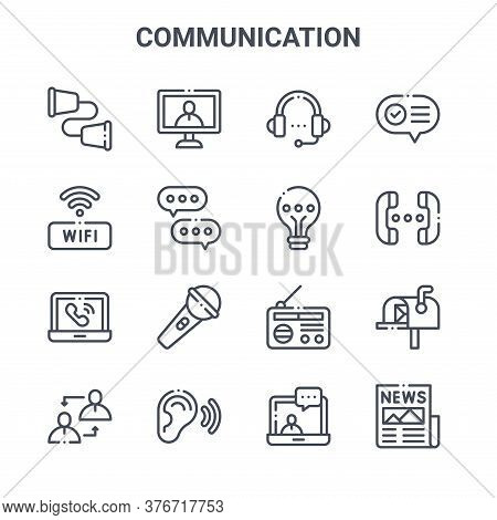 Set Of 16 Communication Concept Vector Line Icons. 64x64 Thin Stroke Icons Such As Online, Wifi, Con