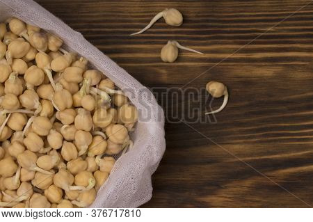 Germinated Chickpeas On Wooden Background. Close Up
