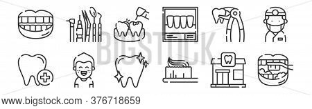 12 Set Of Linear Dental Care Icons. Thin Outline Icons Such As Brushing Teeth, Toothbrush, Kid, Plie