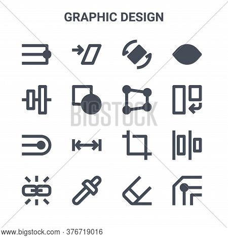 Set Of 16 Graphic Design Concept Vector Line Icons. 64x64 Thin Stroke Icons Such As Shear, , Rotate,