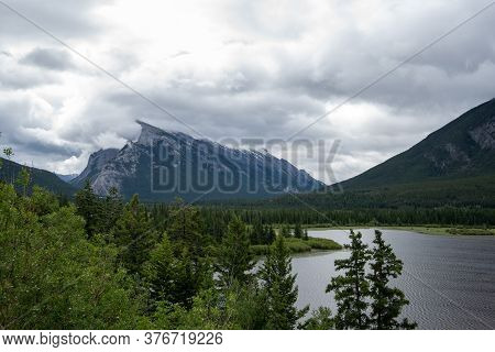 A Picture Of Mt. Rundle And Vermilion Lake.   Banff National Park,  Ab Canada