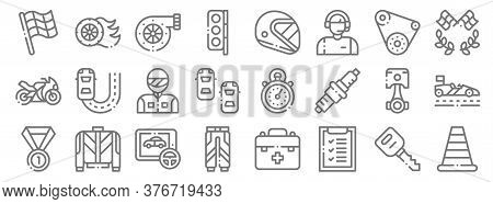 Autoracing Line Icons. Linear Set. Quality Vector Line Set Such As Traffic Cone, Evaluate, Uniform,