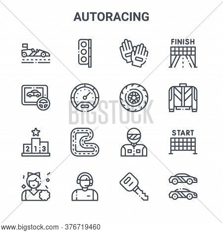 Set Of 16 Autoracing Concept Vector Line Icons. 64x64 Thin Stroke Icons Such As Traffic Light, Game,