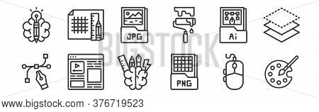 12 Set Of Linear Graphic Design Icons. Thin Outline Icons Such As Color Palette, Png File, Layout, A